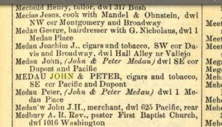 1871 SF Directory Medau's