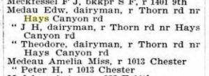Medau Oakland Directory 1895